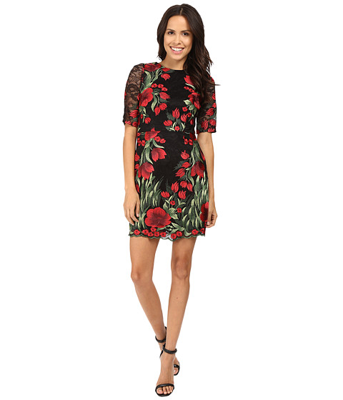 Aidan Mattox Embroidered 3/4 Sleeve Cocktail Dress
