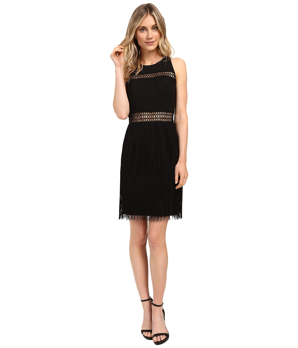 Aidan Mattox Crepe Dress w/ Crocket and Fringe Detail (Black) Women