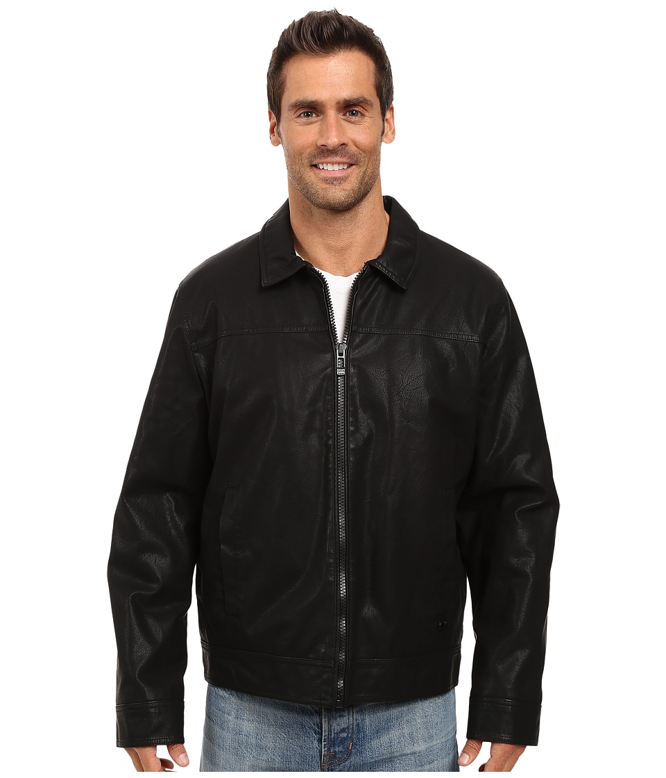 Calvin Klein - Faux Leather Shirt Collar Jacket (Black) Mens Coat