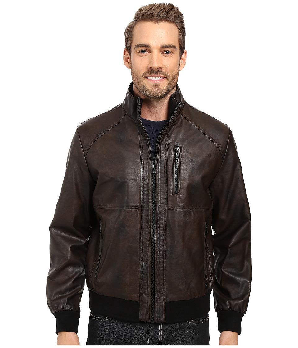 Calvin Klein Faux Leather Bomber (Heritage Brown) Men's Coat
