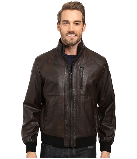 Calvin Klein Faux Leather Bomber - Heritage Brown