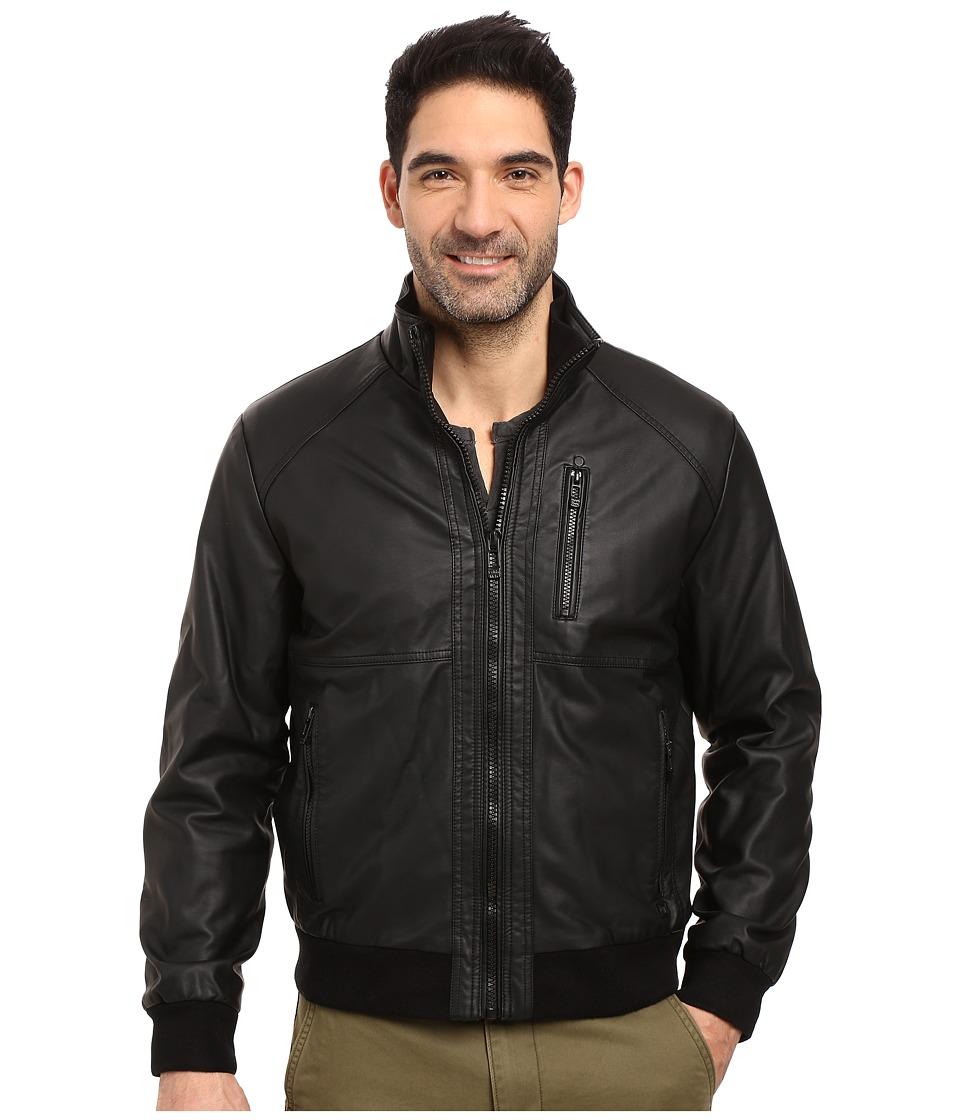 Calvin Klein Faux Leather Bomber (Black 1) Men's Coat