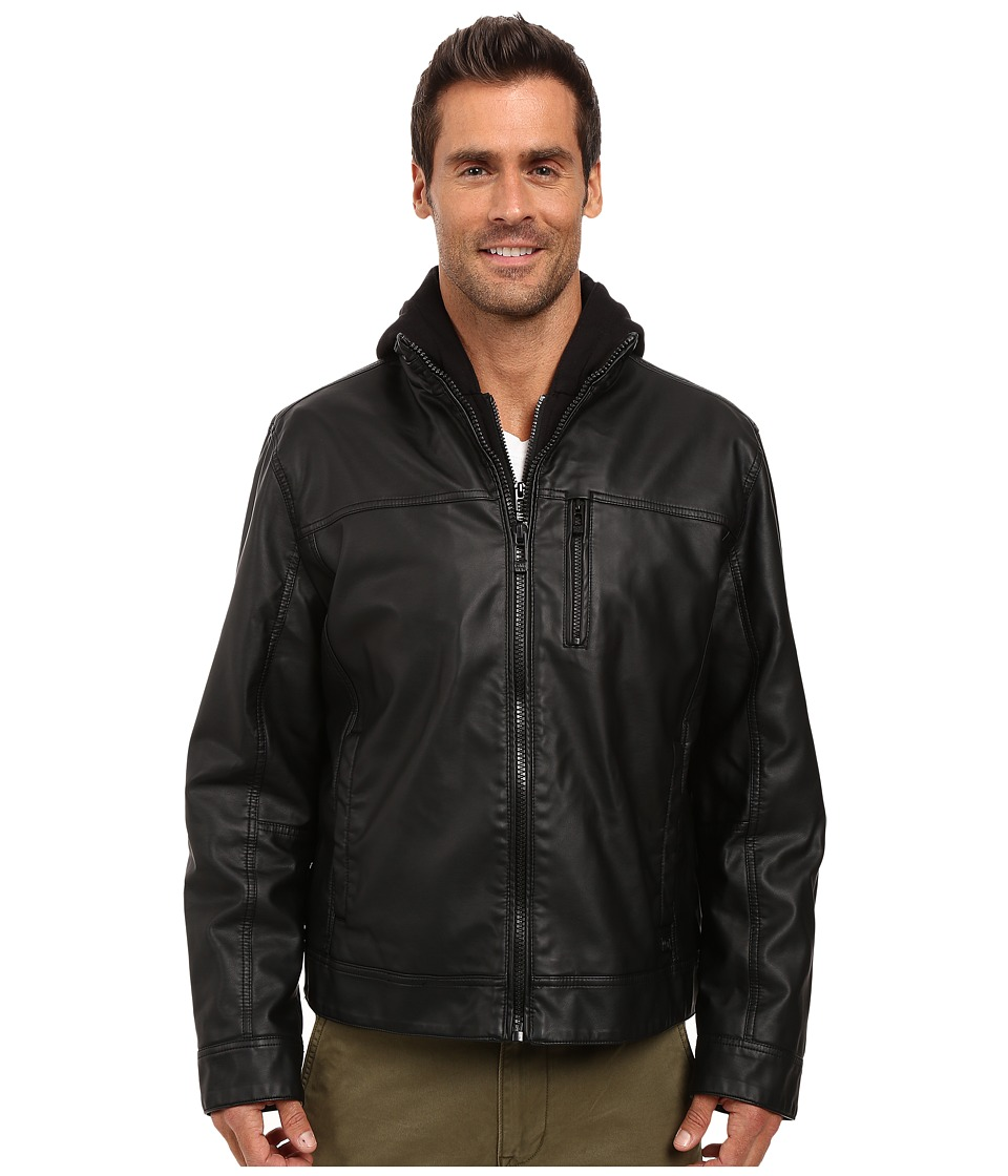 Calvin Klein Faux Leather Hoodie Jacket (Black 1) Men's S...