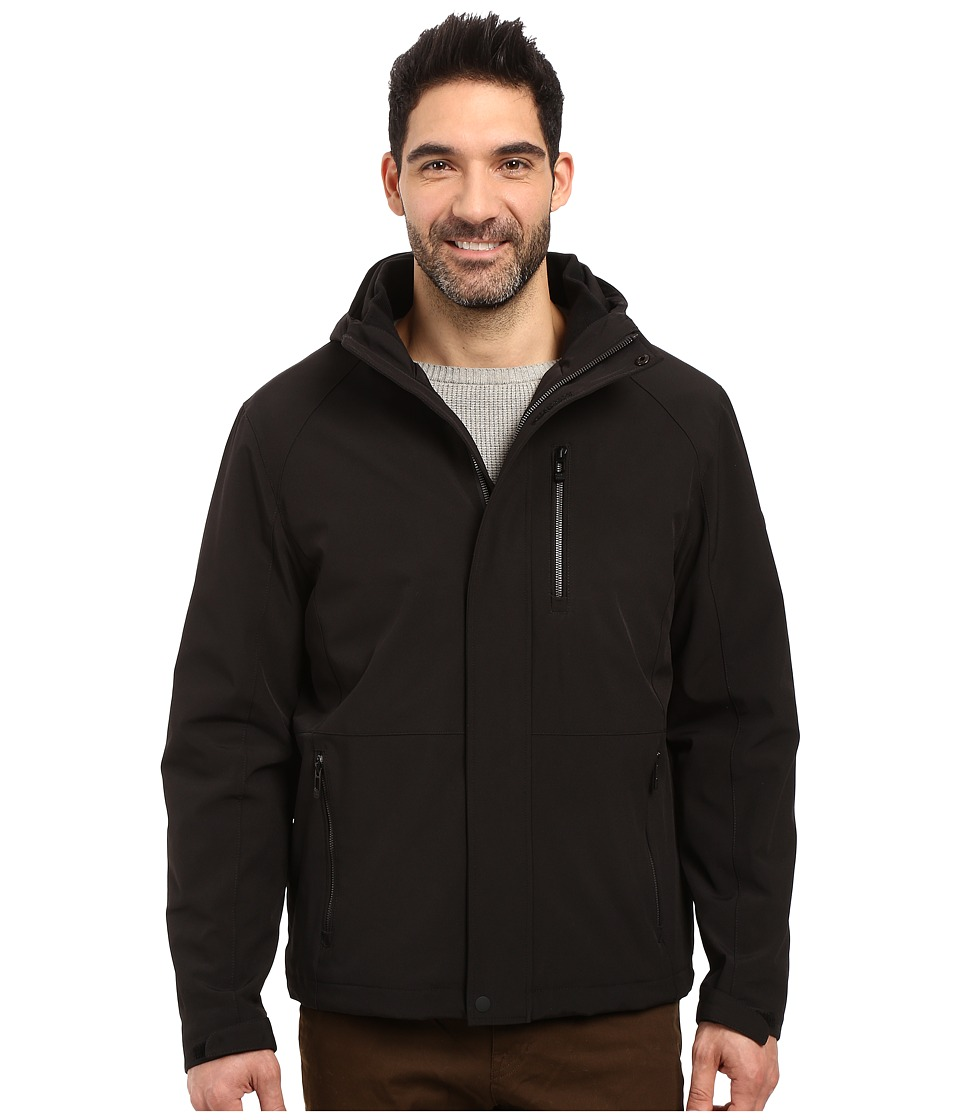 Calvin Klein Softshell Hoodie with Faux Sherpa Lining (Black) Men