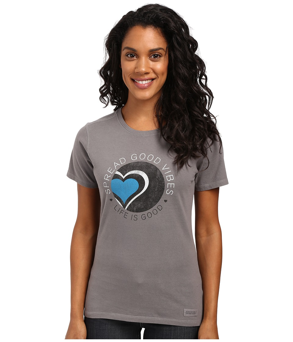 Life is good - Spread Good Vibes Heart Crusher Tee (Slate Gray) Women