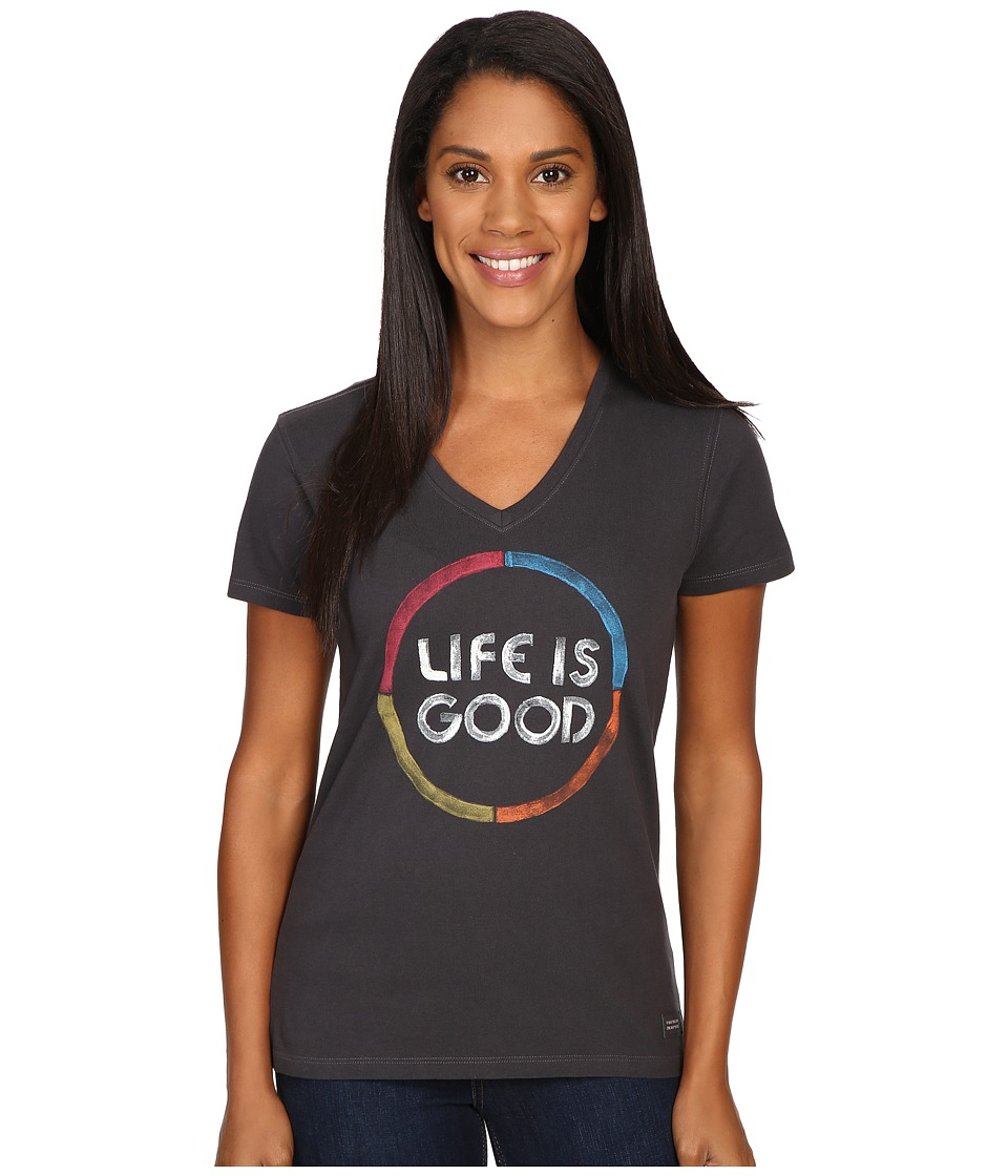 Life is good - Life is Good Color Circle Crusher Vee (Night Black) Women