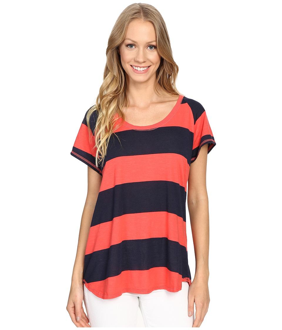 Allen Allen - Stripe Short Sleeve Scoop Tee (Begonia) Women