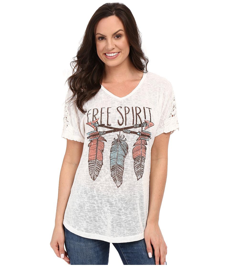 Petrol Printed Crochet Tee Ivory Womens T Shirt