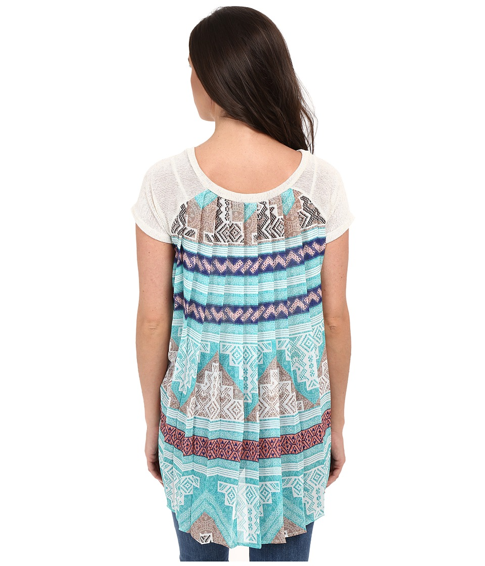 Petrol Chiffon Back Tunic Aqua Womens Blouse
