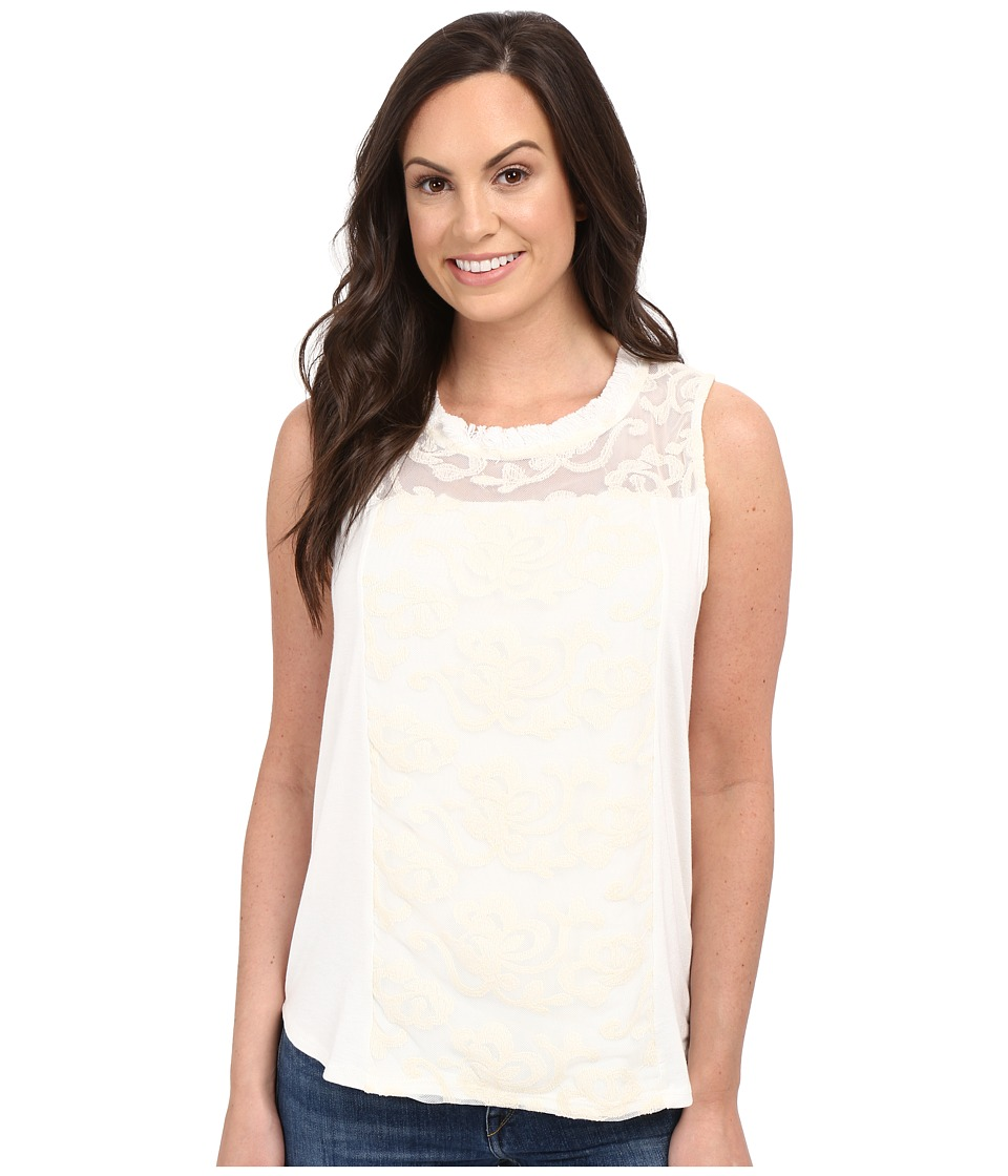 Petrol Touch of Lace Tank Top Ivory Womens Sleeveless