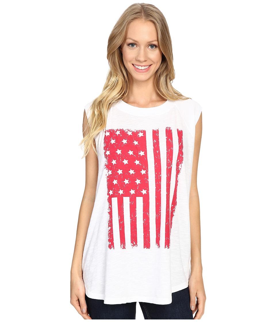 Allen Allen - Raglan Sleeveless Tee w/ White Flag (White) Women