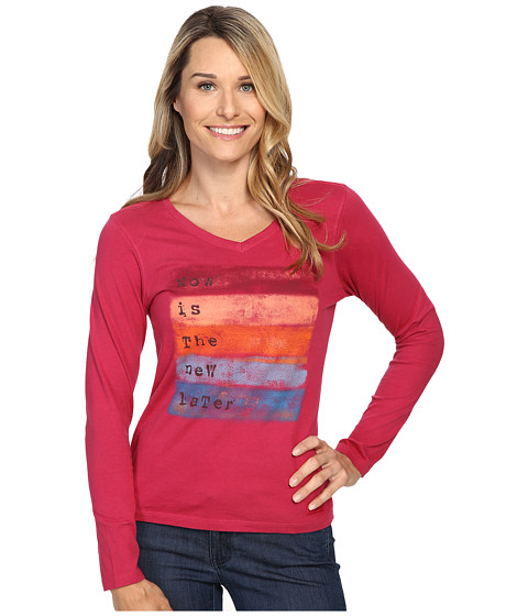 Life is good Now Is The New Later Long Sleeve Crusher Vee - Rose Berry