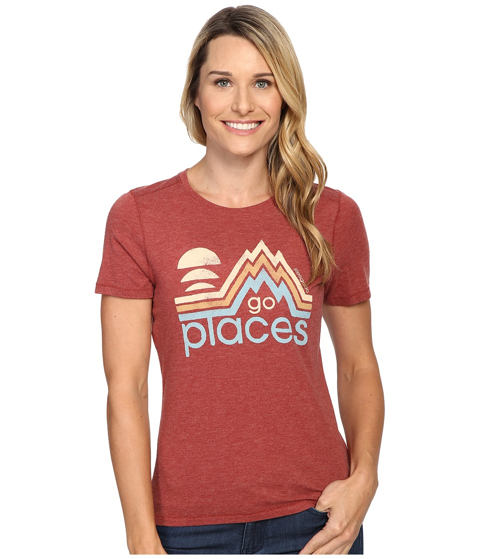 Life is good Go Places Mountains Cool Tee (Rustic Red) Women