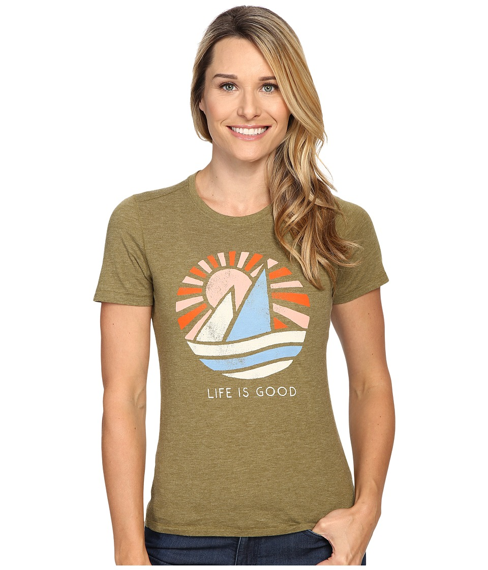 Life is good Life is Good Sail Boat Cool Tee (Woodland Green) Women