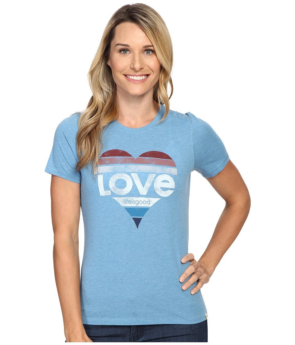 Life is good Love Heart Cool Tee (Cloud Blue) Women
