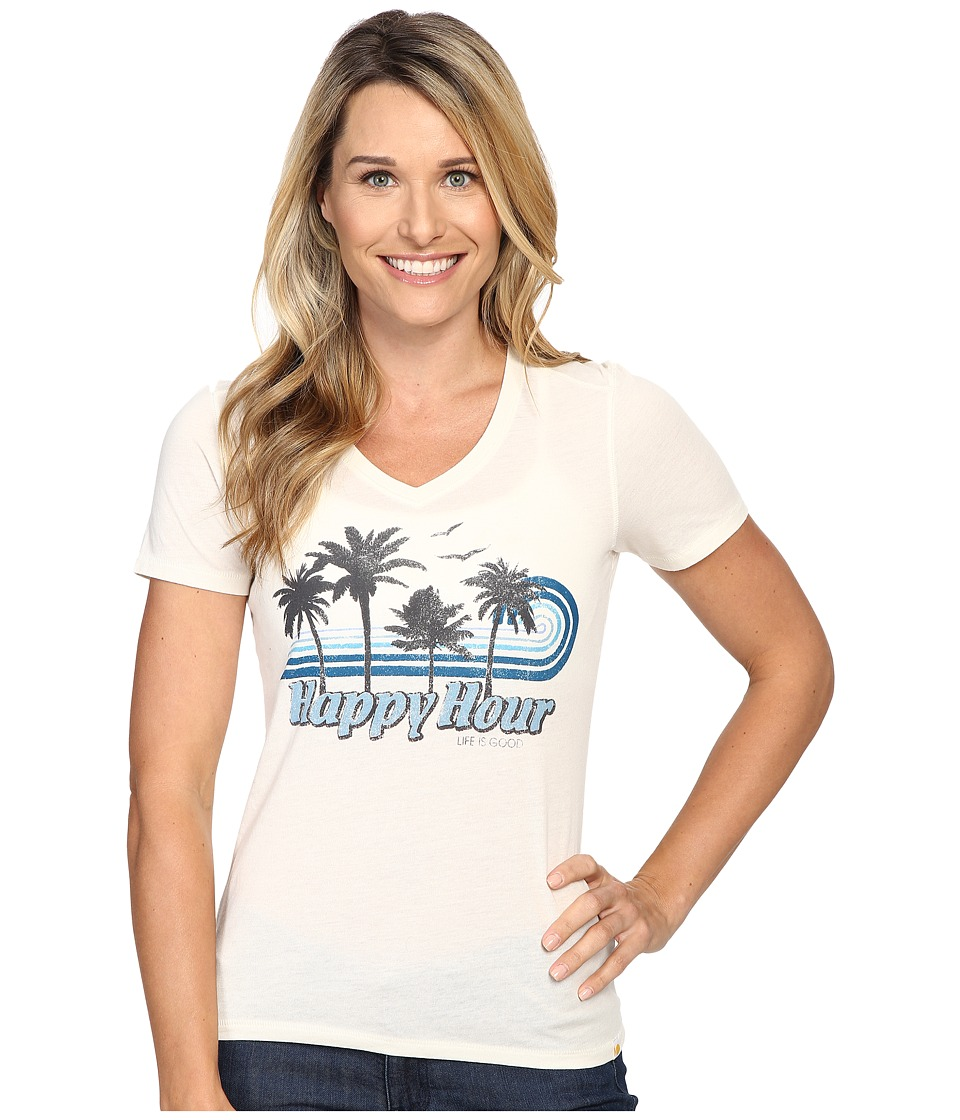 Life is good Happy Hour Palm Stripe Cool Vee (Simply Ivory) Women