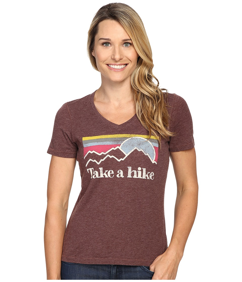 Life is good Take A Hike Sunset Stripe Cool Vee (Earthy Brown) Women