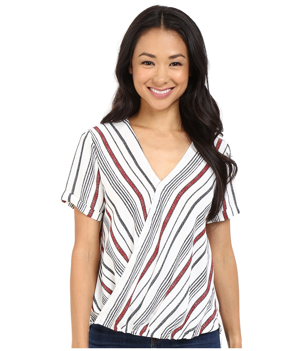 Brigitte Bailey Annora Short Sleeve Crossover Top Ivory/Red Womens Clothing