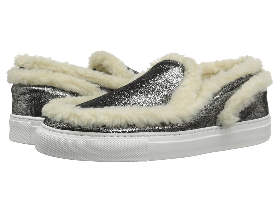 MM6 Maison Margiela - Shearling Trim Sneaker (Anthracite/Beige Teddy) Women's Shoes