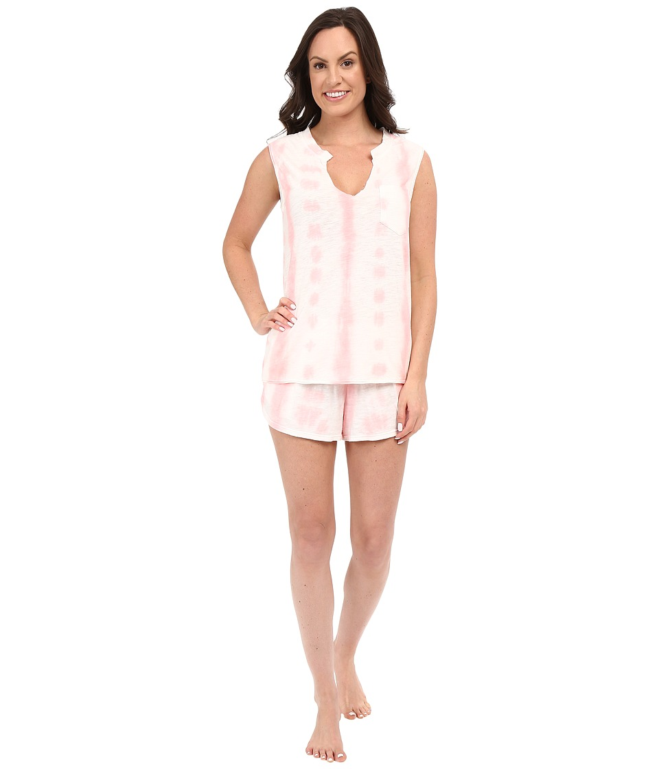Jane amp Bleecker Tie Dye Slub Shorts Set 3591158 Pink Womens Pajama Sets