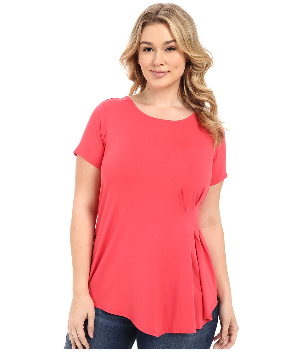 Vince Camuto Plus - Plus Size Short Sleeve Side Pleat Top (Guava Fruit) Women's Clothing plus size,  plus size fashion plus size appare