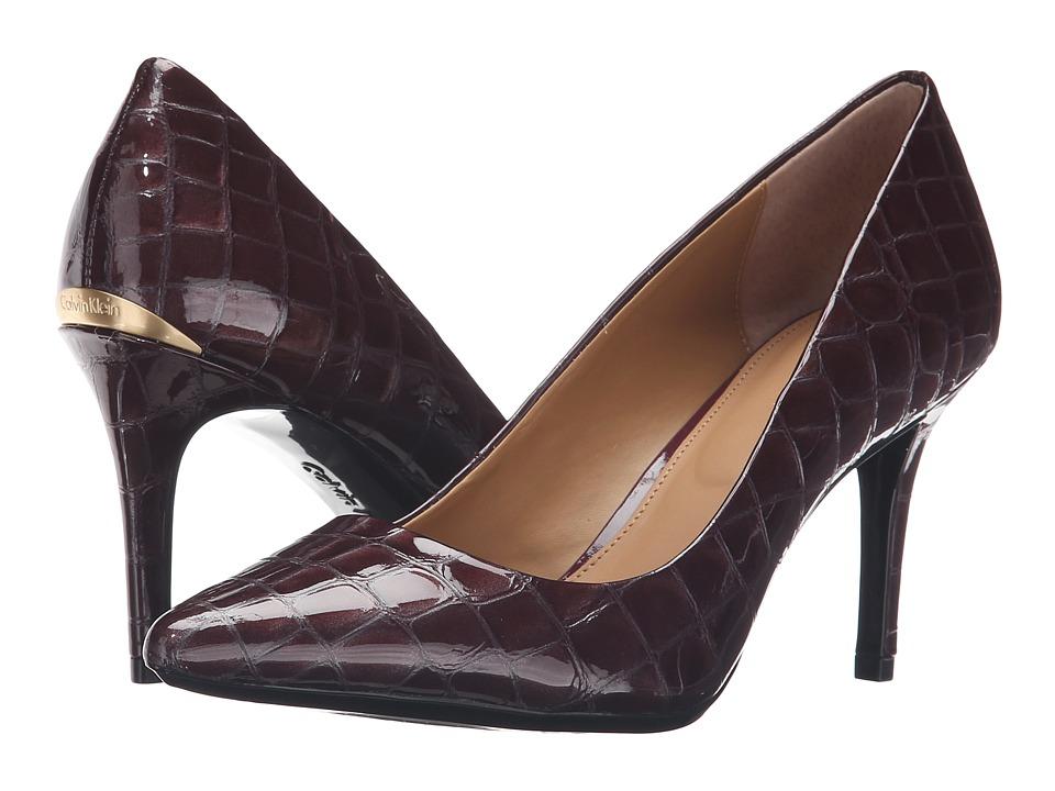 Calvin Klein Gayle (Cabernet Croco Print Patent) High Heels