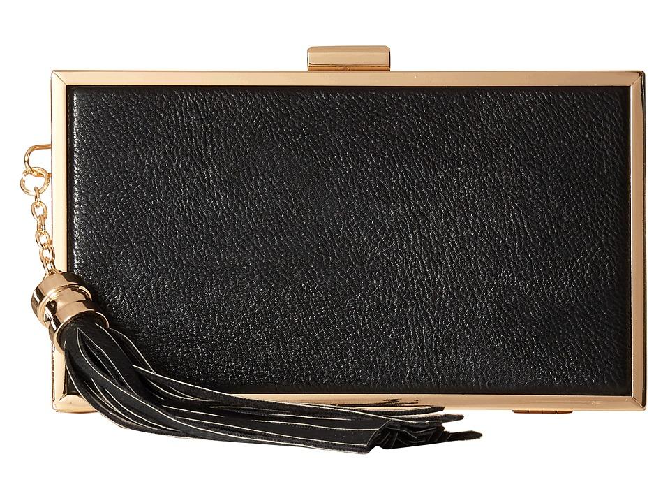 Jessica McClintock - Ella Tassel Clutch (Black) Clutch Handbags