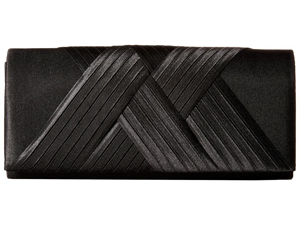 Jessica McClintock Abbey Satin Clutch Black Clutch Handbags