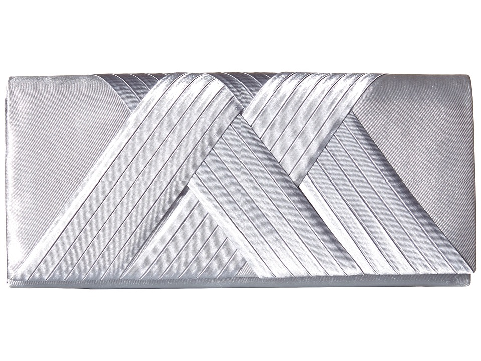 Jessica McClintock Abbey Satin Clutch Silver Clutch Handbags