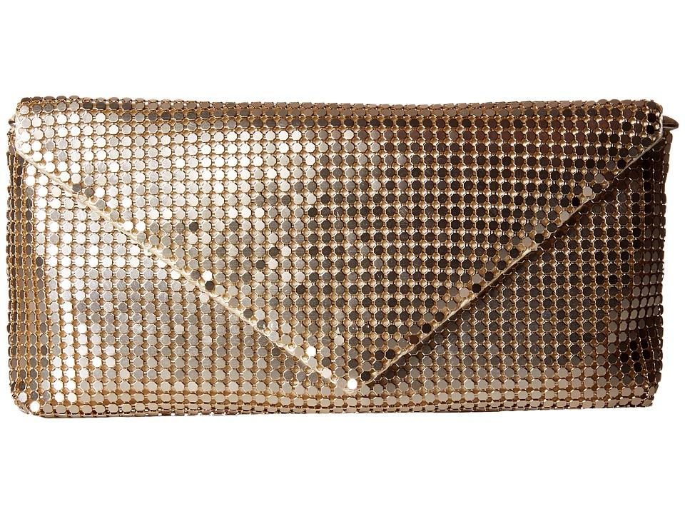 Jessica McClintock - Grace Mesh Envelope Clutch (Light Gold) Clutch Handbags