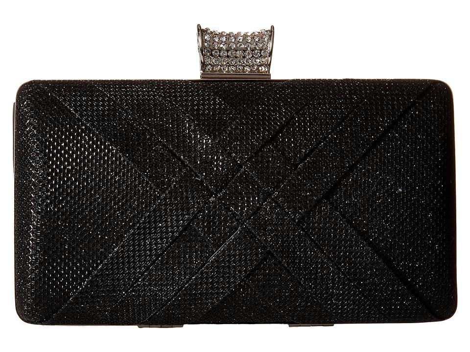 Jessica McClintock - Noelle Glitter Minaudere (Black) Clutch Handbags