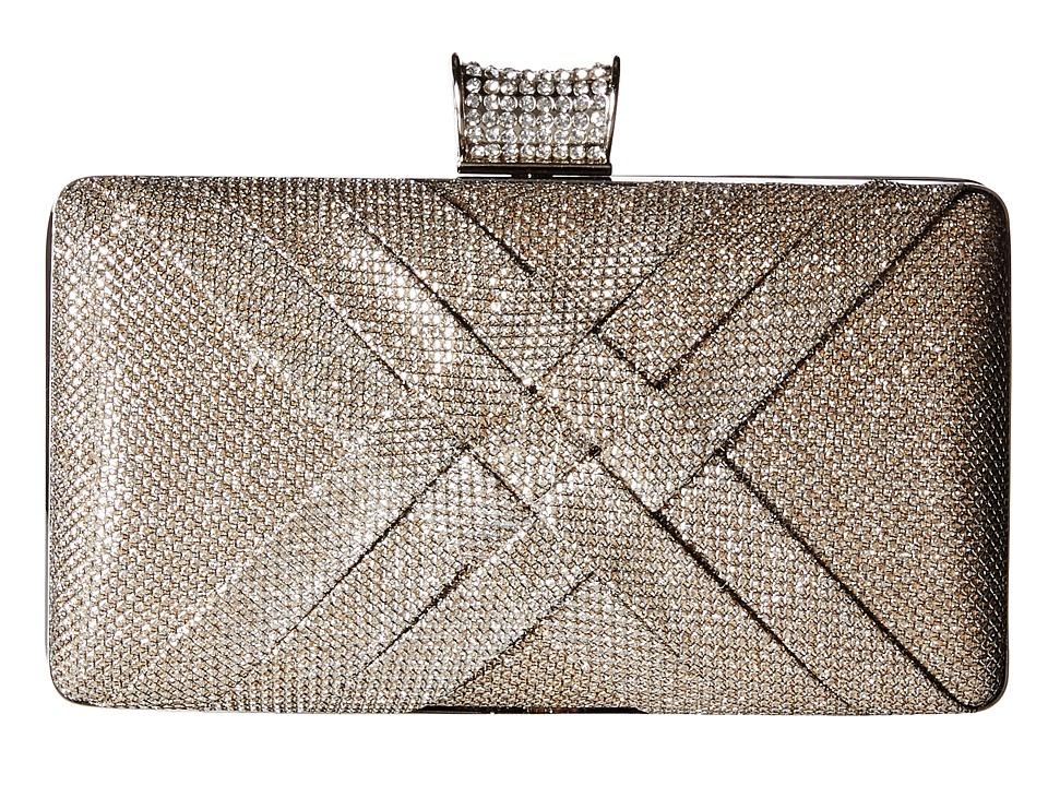 Jessica McClintock - Noelle Glitter Minaudere (Champagne) Clutch Handbags