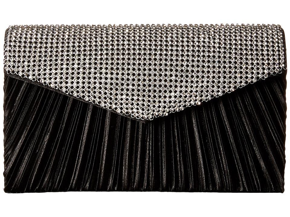 Jessica McClintock - Lily Rhinestone Envelope Clutch (Black) Clutch Handbags