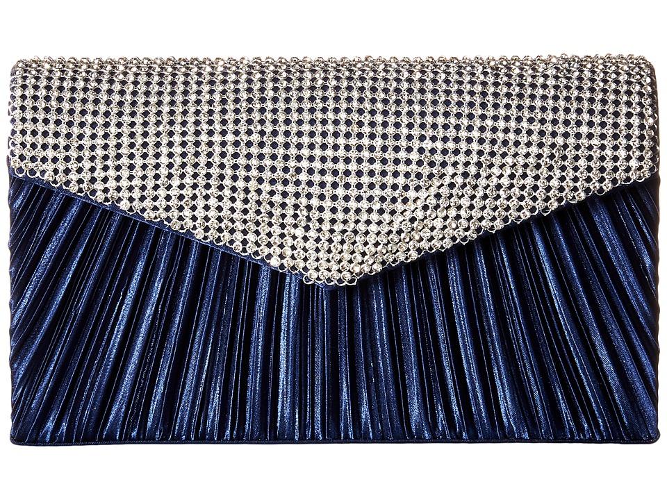 Jessica McClintock - Lily Rhinestone Envelope Clutch (Navy) Clutch Handbags