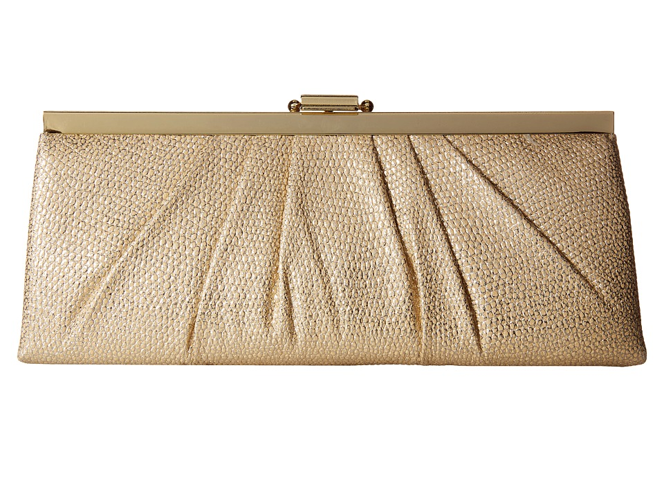 Jessica McClintock - Blaire Metallic Frame Clutch (Sand) Clutch Handbags