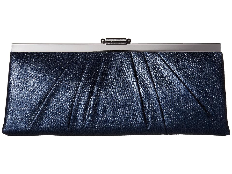 Jessica McClintock - Blaire Metallic Frame Clutch (Navy) Clutch Handbags