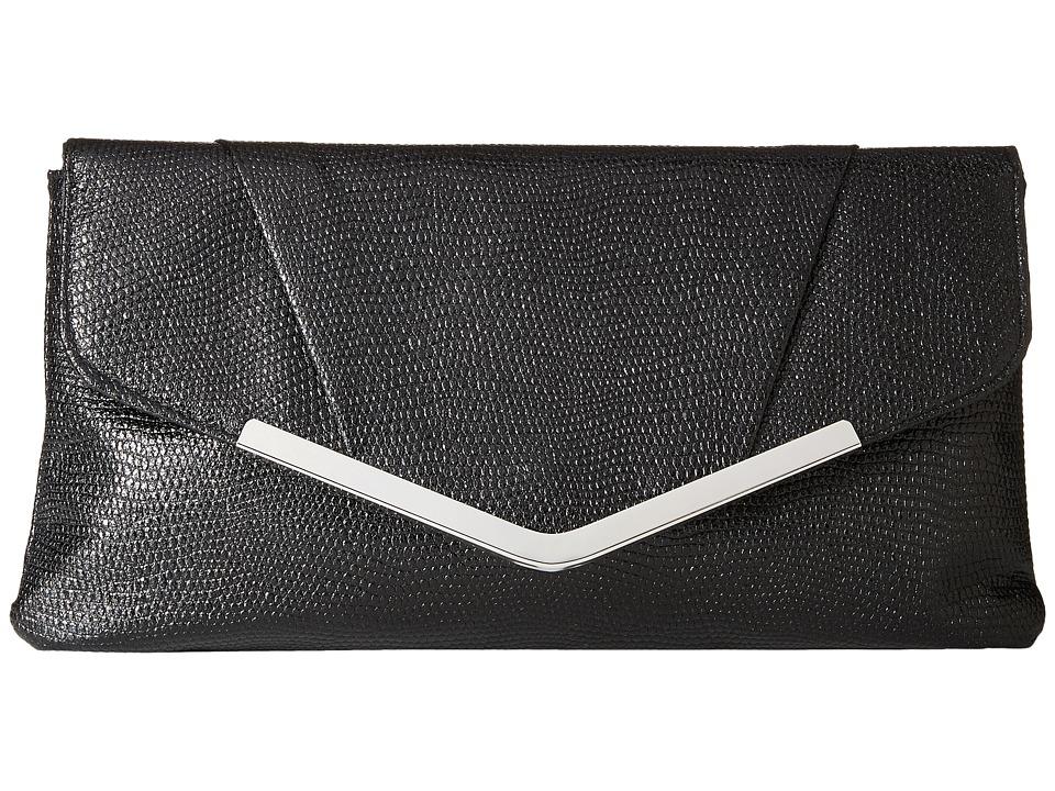 Jessica McClintock - Arielle Metallic Enevelope Clutch (Black) Clutch Handbags