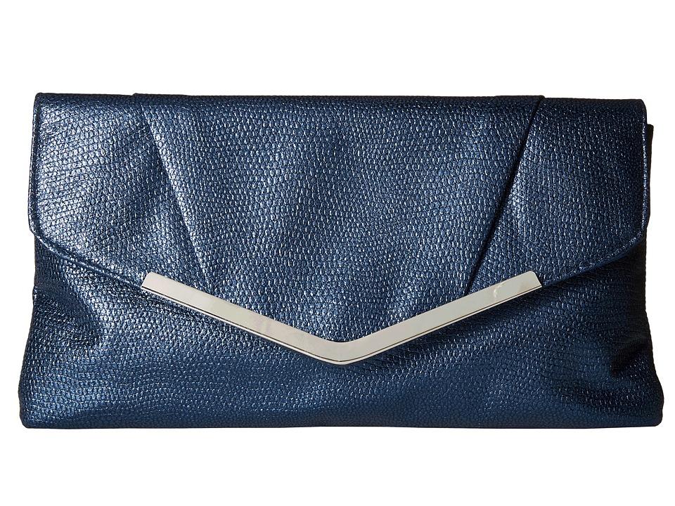Jessica McClintock - Arielle Metallic Enevelope Clutch (Navy) Clutch Handbags