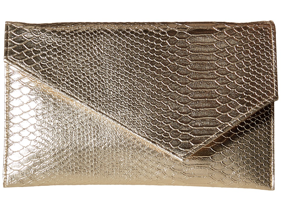 Jessica McClintock - Olivia Embossed Snake Clutch (Gold) Clutch Handbags