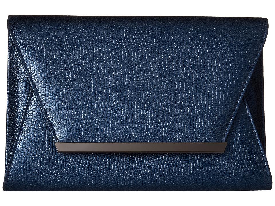 Jessica McClintock - Ryder Metallic Envelope Clutch (Navy) Clutch Handbags