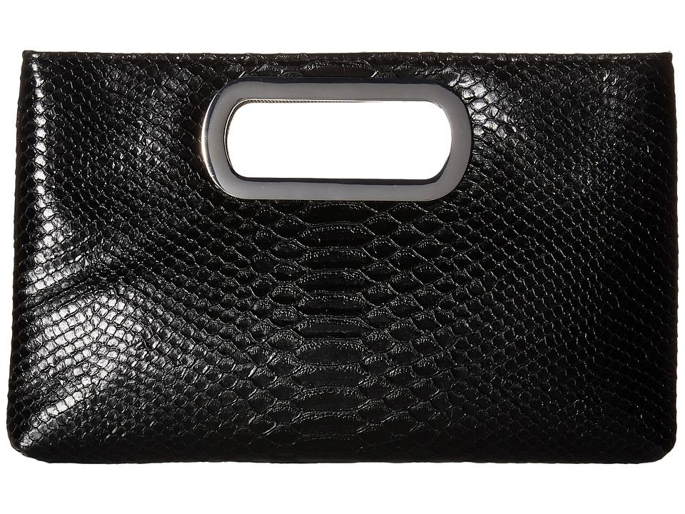 Jessica McClintock - Tiffany Embossed Snake Clutch (Black) Clutch Handbags