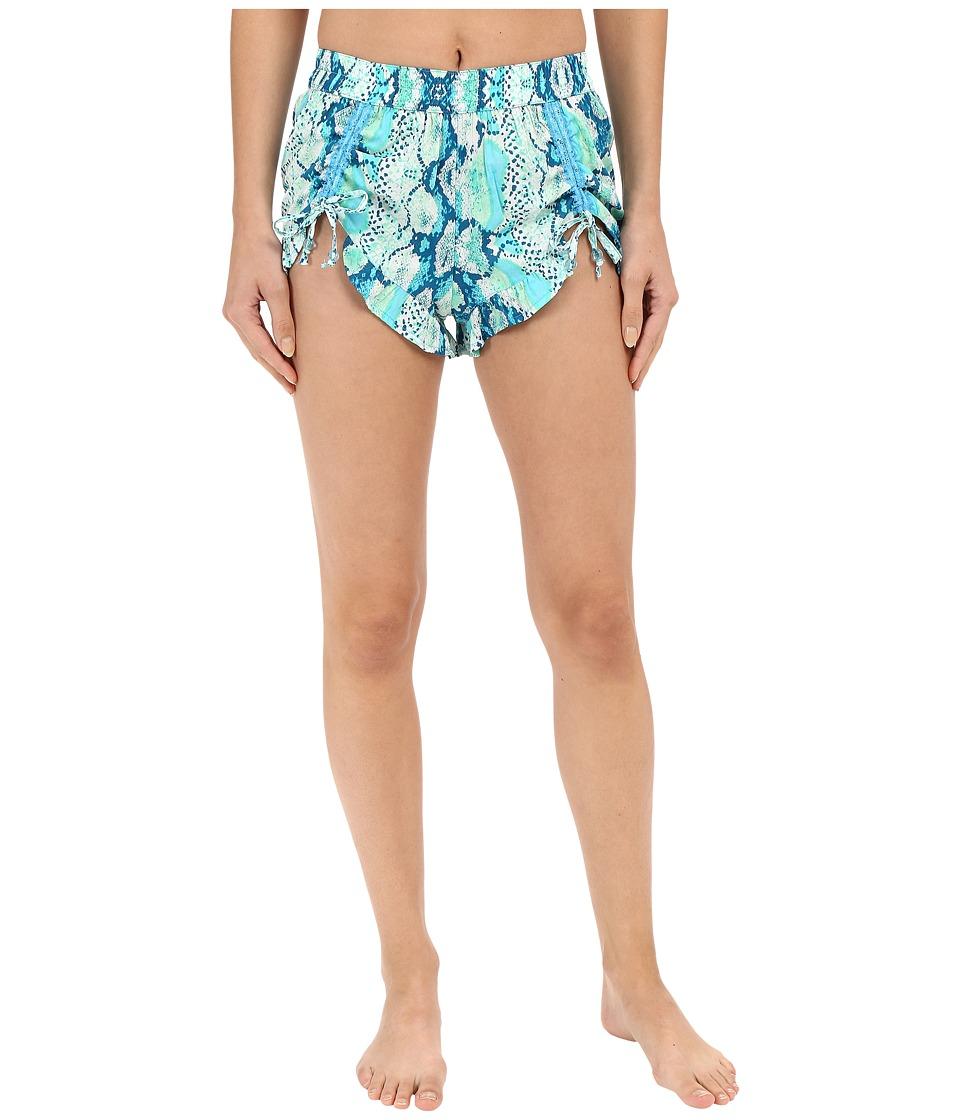 Betsey Johnson Woven Shorts Hippie Snake Nirvana Aqua Womens Pajama