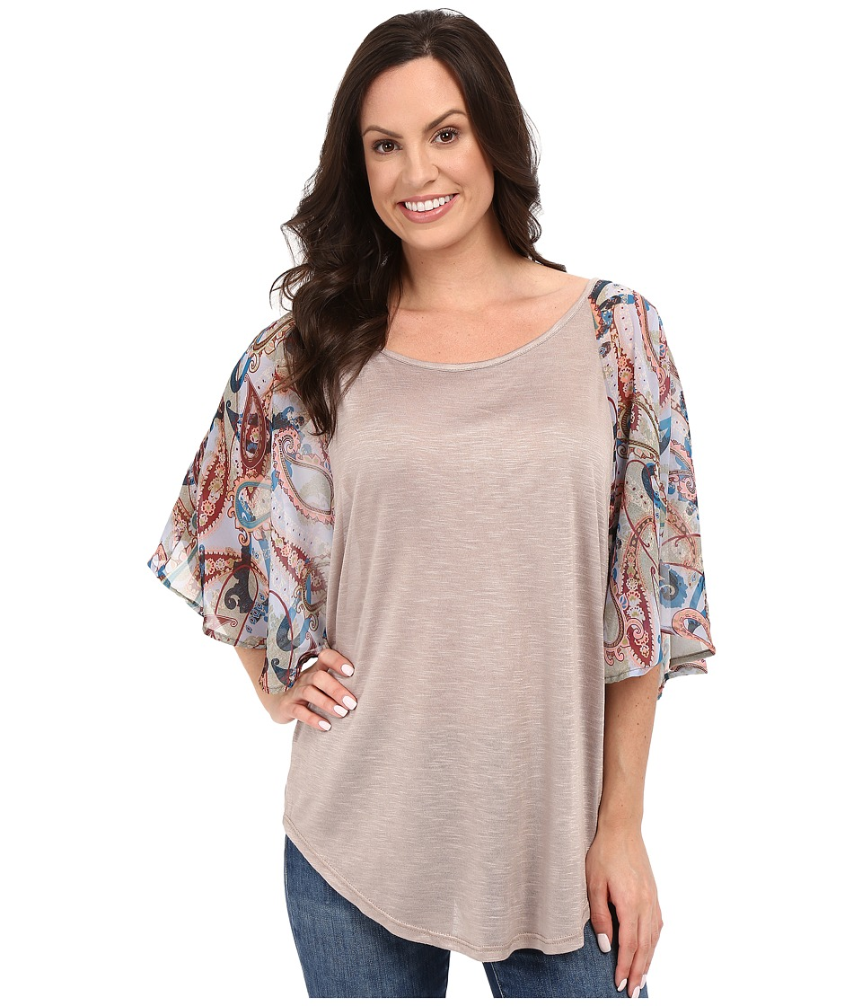 Petrol Flutter Chiffon Sleeve Top Multi Womens Blouse