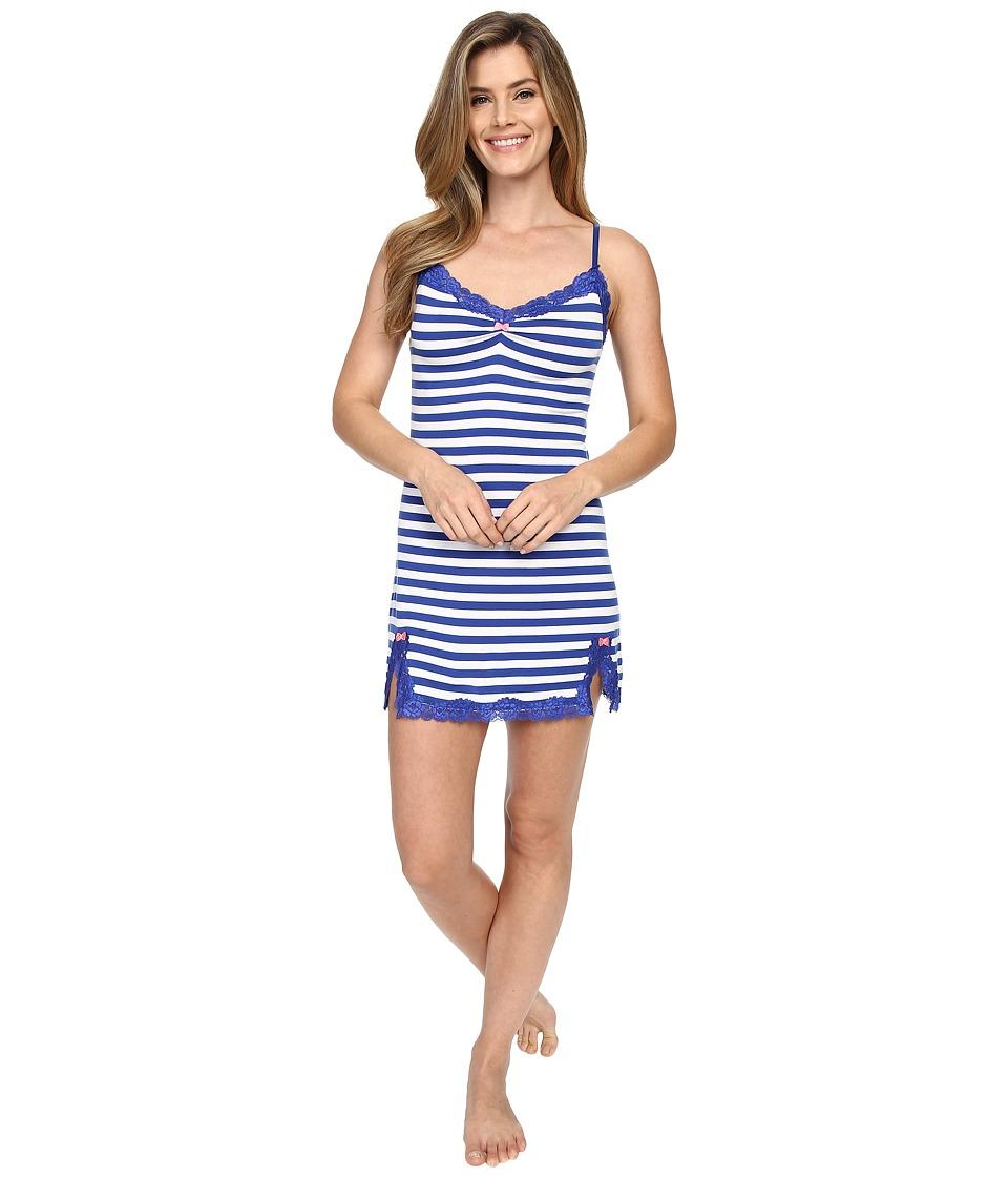 Betsey Johnson Knit Slip Knotty Navy Stripe Womens Pajama