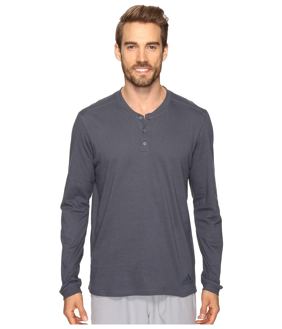 adidas Postgame Long Sleeve Henley Top (Utility Blue/Black) Men