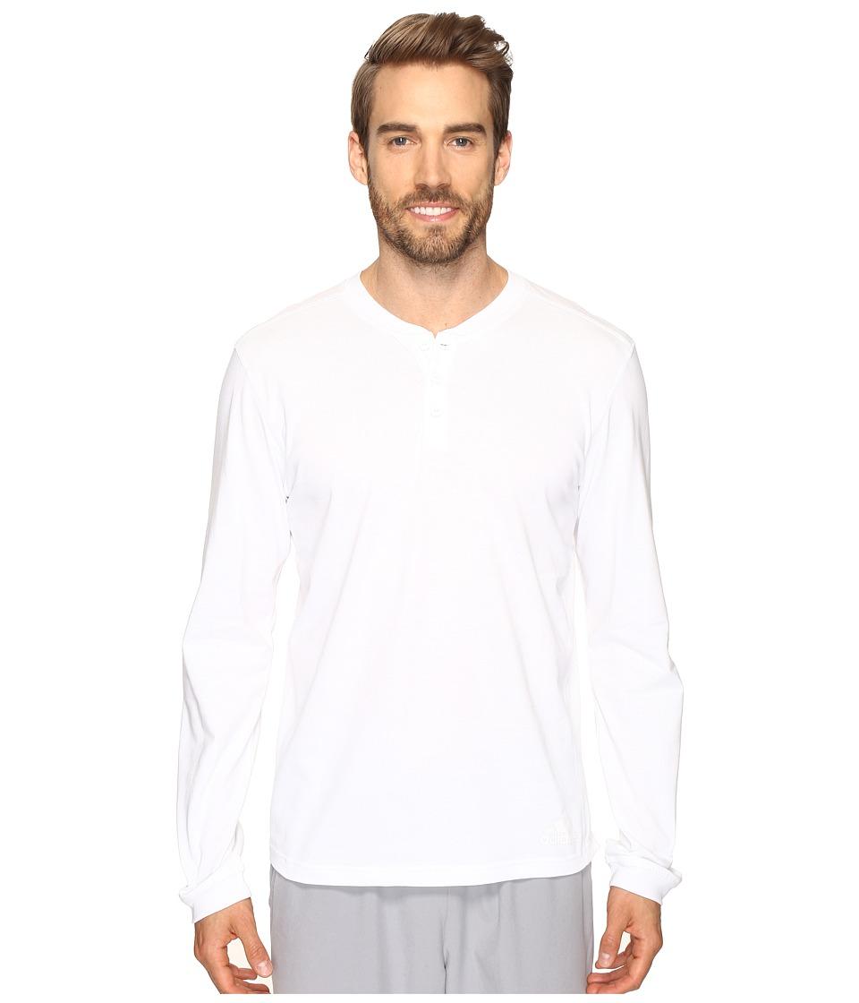 adidas Postgame Long Sleeve Henley Top (White/Black) Men