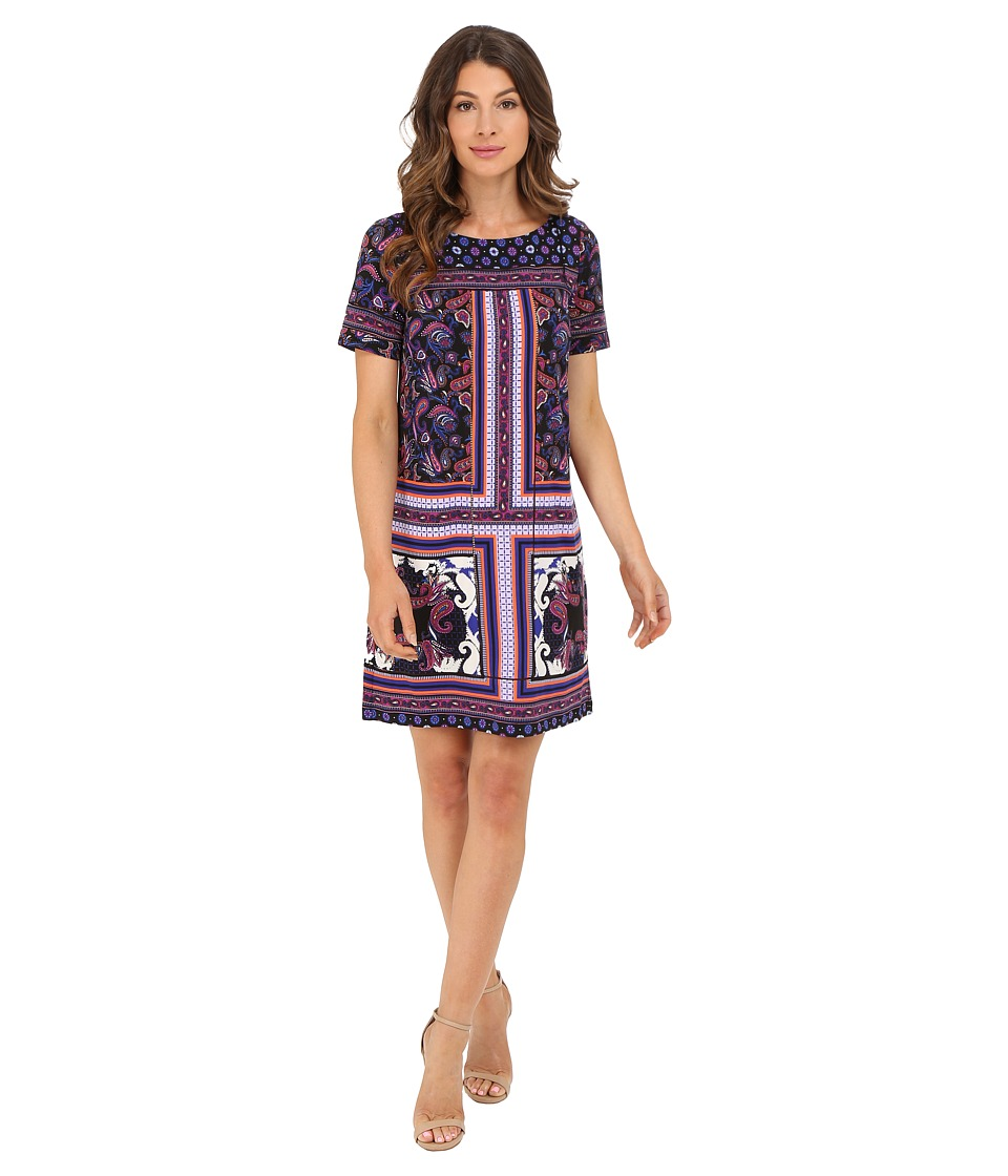 Adrianna Papell Print Shift Dress Black Multi Womens Dress