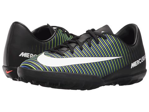 Nike Kids JR Mercurial Vapor XI TF Soccer (Toddler/Little Kid/Big Kid) - Black/Electric Green/Paramount Blue/White