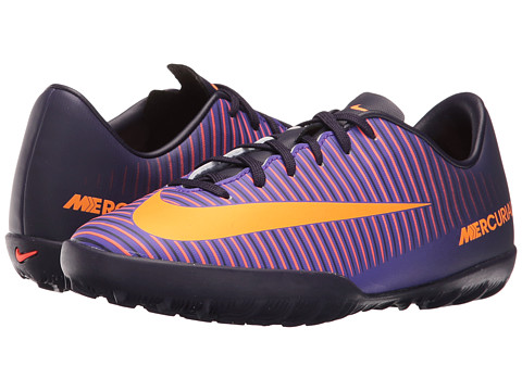 Nike Kids JR Mercurial Vapor XI TF Soccer (Toddler/Little Kid/Big Kid) - Purple Dynasty/Hyper Grape/Total Crimson/Bright Citrus