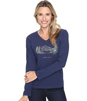 Life is good - Powder Room Mountains Long Sleeve Crusher Vee